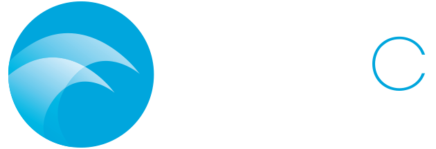 BlueC Studio logo including an icon of waves crashing that forms an abstract C