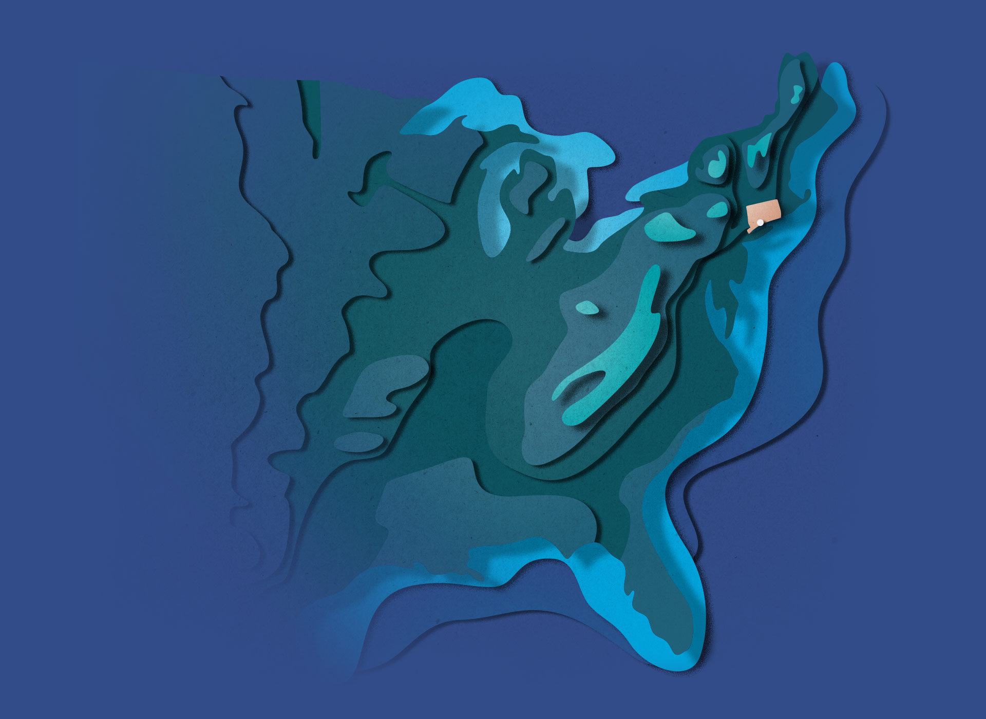 Layered topographical illustration of the united states, executed in a refined paper cut-out style. Southport Connecticut is highlighted.