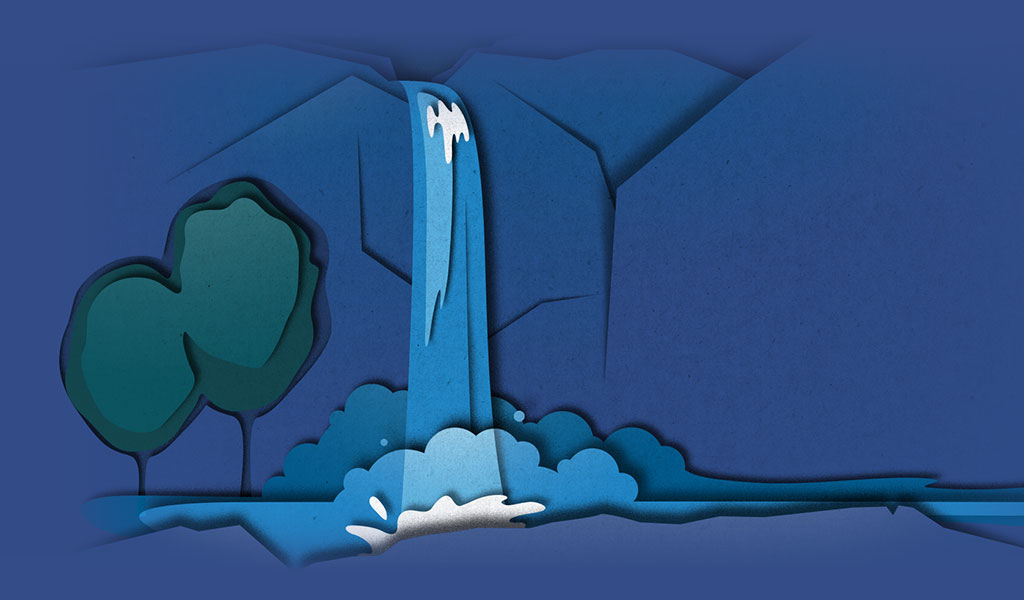 Layered illustration of a waterfall streaming down a cliffside in a refined paper cut-out style.