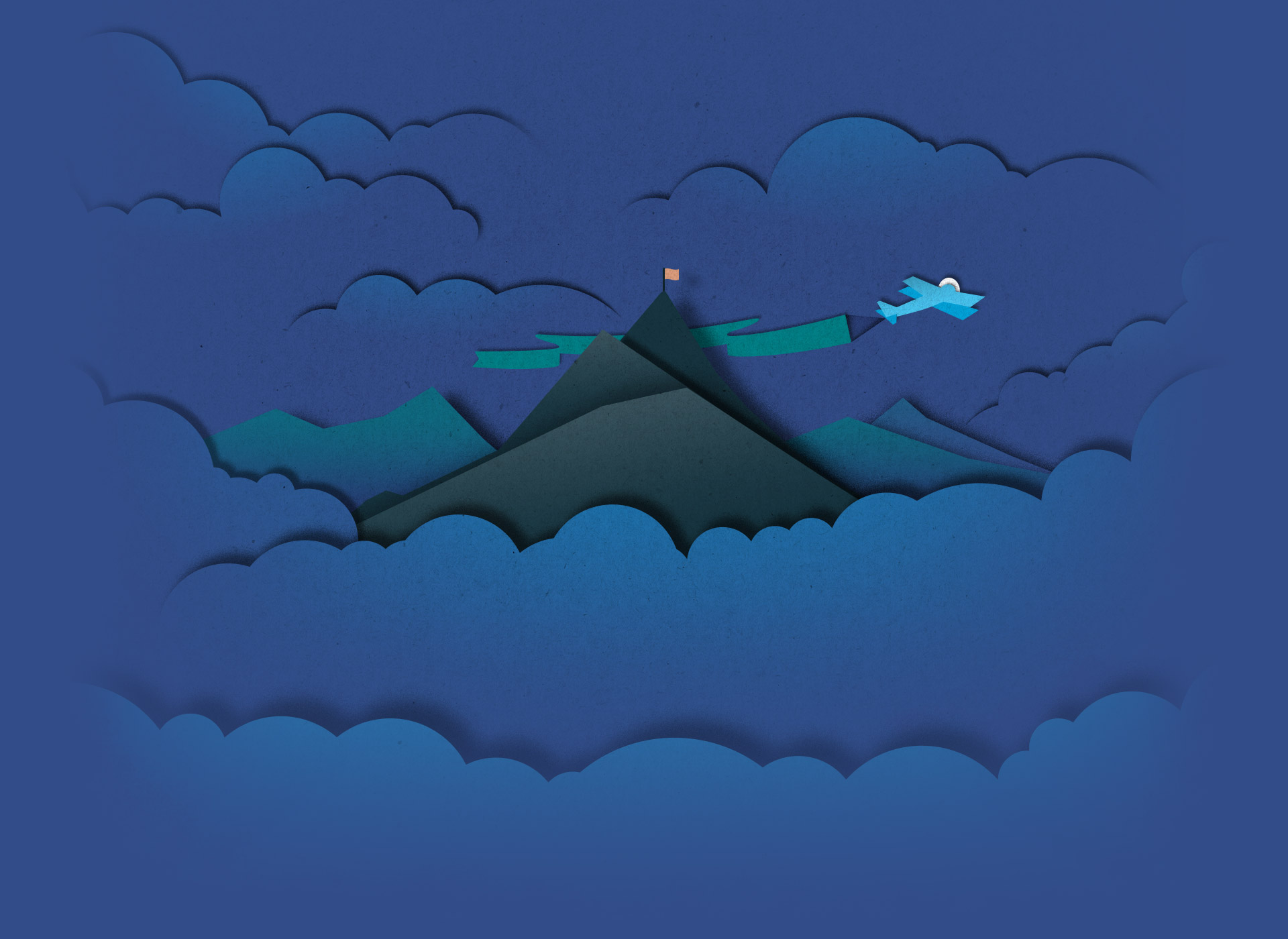 Illustration of an airplane flying a banner over a mountain top in a refined paper cut-out style.